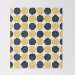 navy and yellow dots Throw Blanket