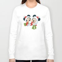 minnie mouse Long Sleeve T-shirts featuring Christmas Mickey Mouse and Minnie Mouse by Yuliya L