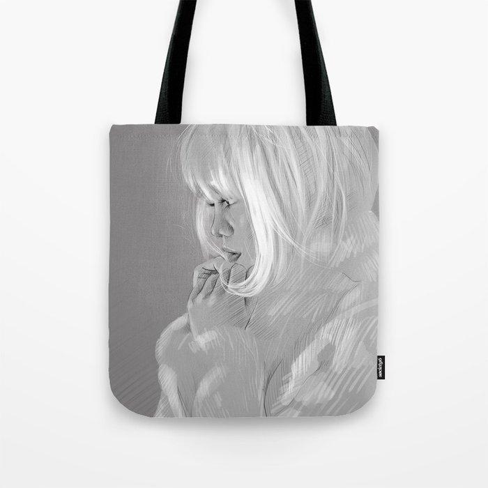 drawing girl in gray Tote Bag