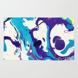 Marble Ink in Blue Purple Black White Yellow Rug