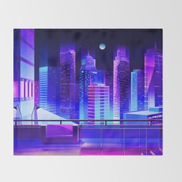 Synthwave Neon City #11 Throw Blanket