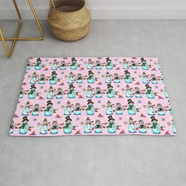 Christmas Snowman in Pink Rug