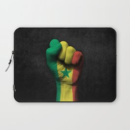 Senegal Flag on a Raised Clenched Fist Laptop Sleeve