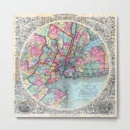 VINTAGE NEW YORK CITY MAP 1879 Metal Print