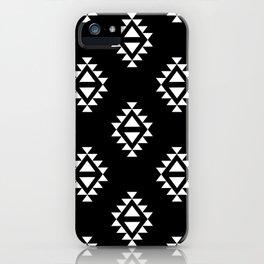 Linocut southwest minimal pattern black and white print scandinavian minimalism iPhone Case
