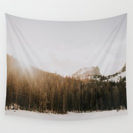 Snowy Sunset Behind the Forest // Mountains of Colorado Wall Tapestry