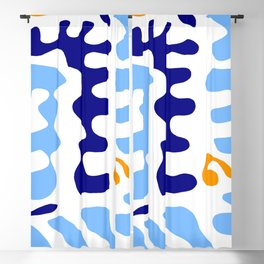 Abstraction in the style of Matisse 32 -blue and orange Blackout Curtain