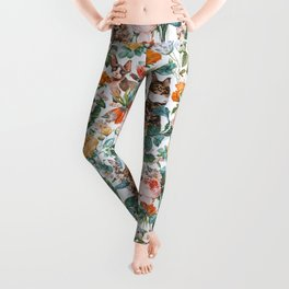 Cat and Floral Pattern III Leggings