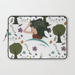 Pattern Illustration of a Woman Relaxing Surrounded by Flowers, Birds, Tree and a Motivational Quote Laptop Sleeve