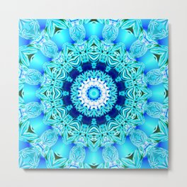 Blue Ice Glass Mandala, Abstract Aqua Lace Metal Print