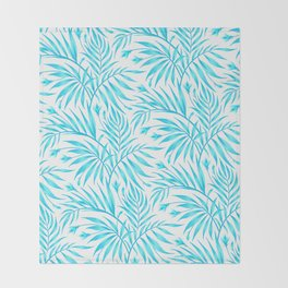 Waikiki Palm - White / Aqua Throw Blanket