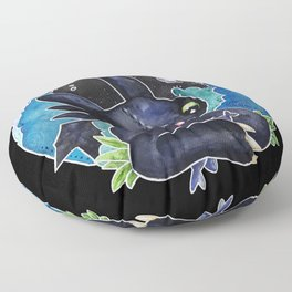 Baby Toothless Night Fury Dragon Watercolor black bg Floor Pillow