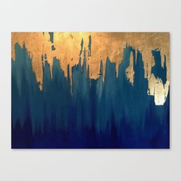 Gold Leaf & Blue Abstract Canvas Print