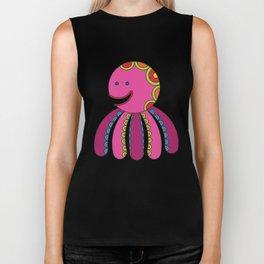 Stylize fantasy color octopus under sea water. Biker Tank