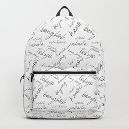Asian City Names Typography Grphic Design Pattern Backpack