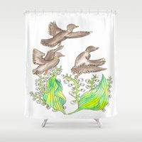 ducks Shower Curtains featuring  Wild ducks by Thesecretcolors