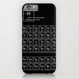 periodic table of elements black iPhone Case