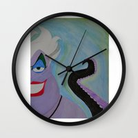 ursula Wall Clocks featuring Ursula by Sierra Christy Art