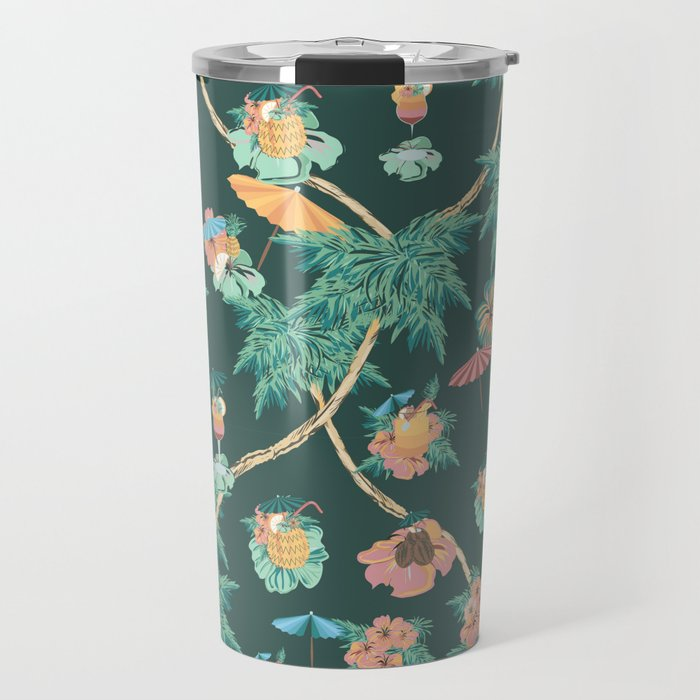Tropical nights with cocktail pattern Travel Mug