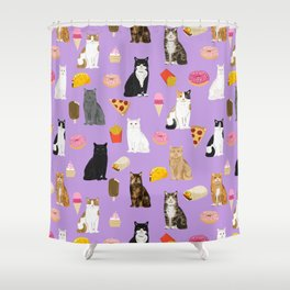 Cat breeds junk food pizza french fries food with cats gifts ice cream donuts Shower Curtain