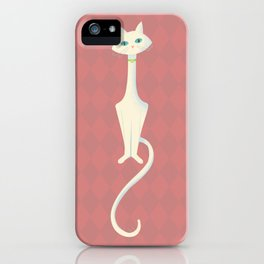 Midcentury Modern White Kitty Cat With Blue Eyes iPhone Case