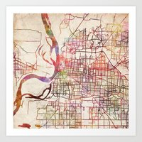 memphis Art Prints featuring Memphis by MapMapMaps.Watercolors