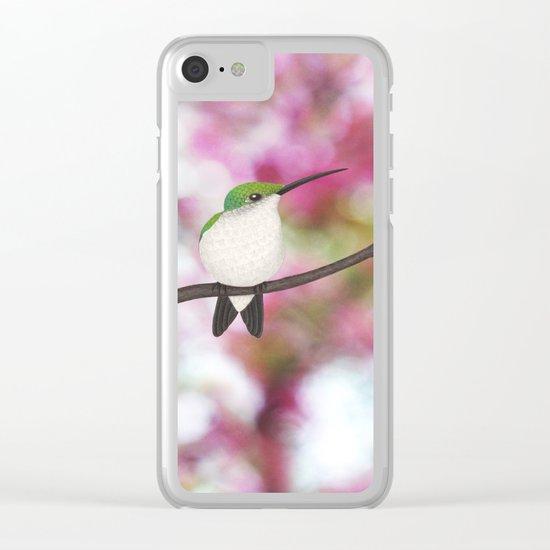 ruby throated hummingbird - female on pink bokeh Clear iPhone Case