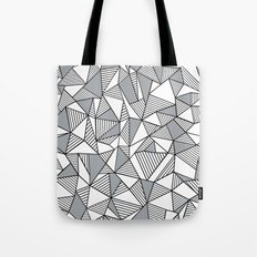 Abstract Lines With Grey Blocks Tote Bag