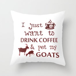 Coffee & Goats Throw Pillow