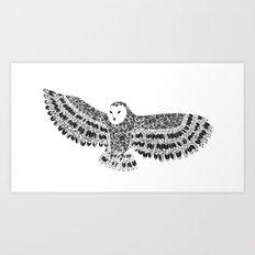 Black and White Barn Owl Beaut Art Print