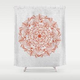 Rust Red Mandala On Japanese Rice Paper Shower Curtain