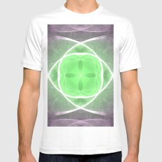 Lilac and Green White Mens Fitted Tee MEDIUM