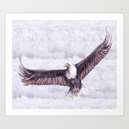 Eagle In The Clouds Art Print