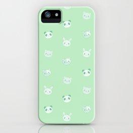 Kawaii Animals (green) iPhone Case