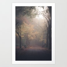 Walking in Woods Art Print