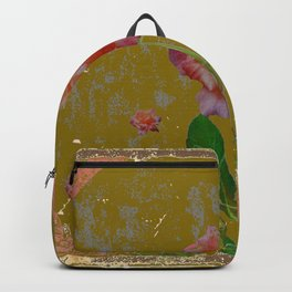 ANTIQUE AVOCADO COLOR  CORAL  PINK ROSES BOTANICAL ART Backpack