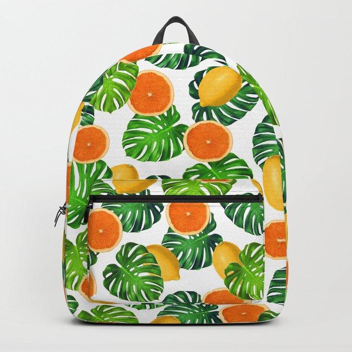 Oranges Lemons Monstera White Rucksack
