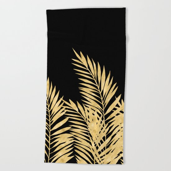 Palm Leaves Golden On Black Beach Towel