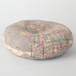 Vintage Map of Michigan (1844) Floor Pillow