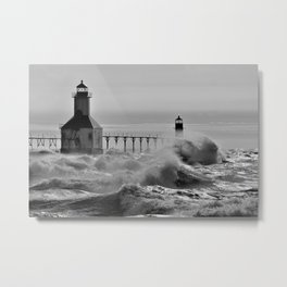 Lake Michigan's Fury - St. Joseph Lighthouses Metal Print