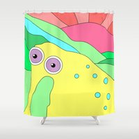 plain Shower Curtains featuring Peaceful Stranger Happy Plain by PENARULIT