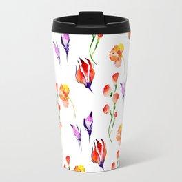 Modern hand painted pink orange purple watercolor hibiscus floral Travel Mug