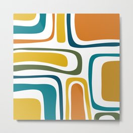 Palm Springs Midcentury Modern Abstract in Moroccan Teal, Orange, Mustard, Olive, and White Metal Print