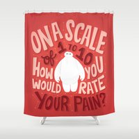 risa rodil Shower Curtains featuring Rate your pain by Risa Rodil