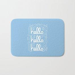 HELLO HELLO HELLO - light blue Bath Mat