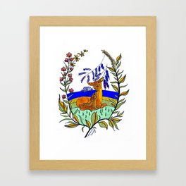 Doe And Fawn In Wildflowers Framed Art Print