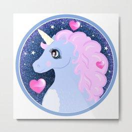 Deep  Space Glitter Unicorn Metal Print