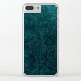 Teal Blue Velvet Texture Clear iPhone Case