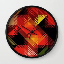 Fall Color Multi Pattern Design Wall Clock