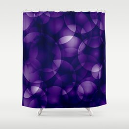Dark intersecting blueberry translucent circles in bright colors with a mauve glow. Shower Curtain